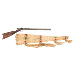 Tack Decorated New Hampshire Buggy Rifle by G.B. Fogg with Beaded Scabbard