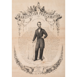 Abraham Lincoln, Emancipation Proclamation Calligraphic Lithograph Broadside, Gilman R. Russell, 1865
