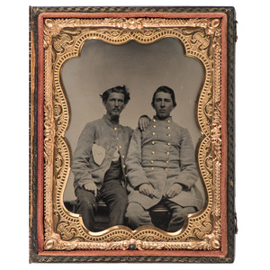 Quarter Plate Ambrotype of Two Confederate Soldiers, Possibly from Georgia