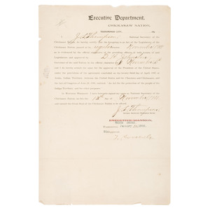 Teddy Roosevelt, TLS Dated January 20, 1902, Regarding Payment to the Chickasaw Nation