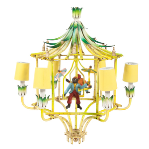 Chinoiserie Chandelier with Hanging Monkeys