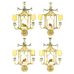 Chinoiserie Wall Sconces with Hanging Birds