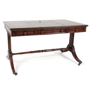 Regency-Style Writing Desk with Leather Top