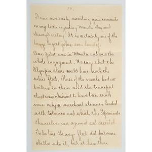 James E. Rowland, Letter Written Aboard the USS Newark During the Philippine-American War, 1899