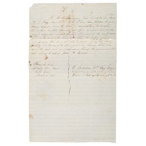 CSA Generals Wade Hampton and George G. Dibrell, Endorsed Letter from Medical Examining Board Concerning Wounded Soldier