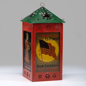 A Patriotic None Such Mince Meat Tin Advertising Lantern