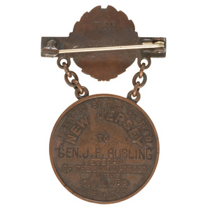 New Jersey Veteran's Service Medal Presented to Brevet Brigadier General James F. Rusling, Quartermaster, US Army