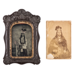 Striking Tintype of Central Plains Indian, Plus