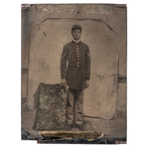 Civil War Quarter Plate Tintype of African American Corporal