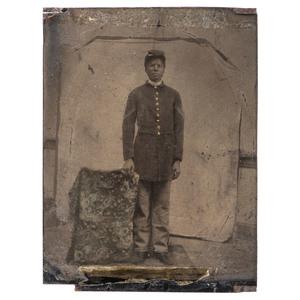 Civil War Quarter Plate Tintype of African American Corporal