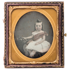 Jeremiah Gurney, Striking Sixth Plate Daguerreotype of Young Girl Wearing Plaid Sash