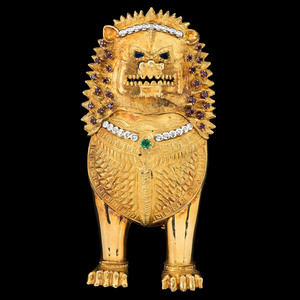 22k Gold Diamond and Gemstone Lion Brooch