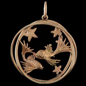 Ruser 14k Gold Pisces Zodiac Charm