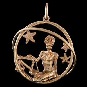 Ruser 14k Gold Libra Zodiac Charm