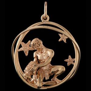 Ruser 14k Gold Aquarius Zodiac Charm
