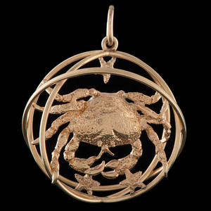 Ruser 14k Gold Cancer Zodiac Charm