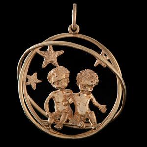Ruser 14k Gold Gemini Zodiac Charm