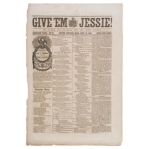 Give 'Em Jessie!, Rare 1856 Presidential Campaign Newspaper Supporting John C. Fremont