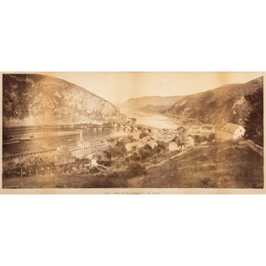 William Henry Jackson, Exceptionally Rare Double Mammoth Plate Photograph of Harpers Ferry, West Virginia