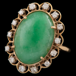 14k Gold Jade and Diamond Ring