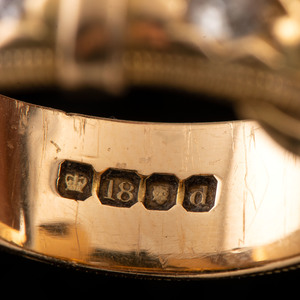18k Gold Victorian Buckle Diamond Ring