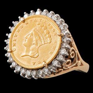 14k Gold Coin Ring