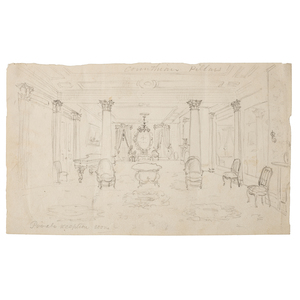 Alfred R. Waud 1861 Pencil Sketch of the Private Reception Room at Washington, DC's Willard Hotel, Where Lincoln Met Delegates from the Peace Conference