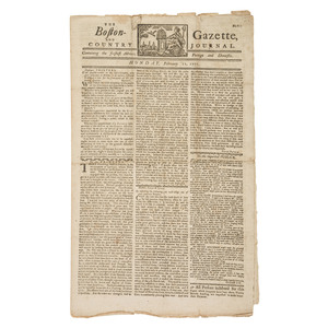 Pre-Revolutionary War Boston Newspaper with Paul Revere Masthead