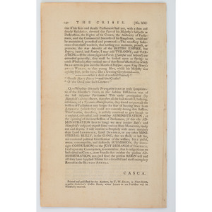 King George III Attacked in Scarce Pro-American Newspaper Printed in England