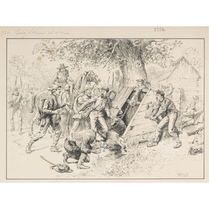 Retreat from Petersburg, Halt at a Well, Pen and Ink Sketch by William Ludwell Sheppard