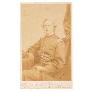 1st Lieutenant Edward L. Stevens, 54th Massachusetts Colored Troops, KIA Boykin's Mills, SC, Autographed CDV