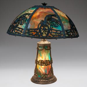 American Slag Glass Lamp with Illuminated Base