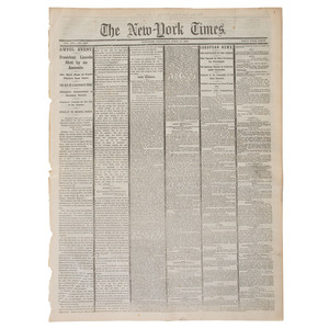 Breaking News of Lincoln's Assassination Reported in New York Times, April 15, 1865
