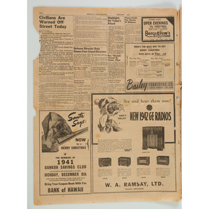 Honolulu Star Bulletin 1st Extra Covering Japanese Attack on Pearl Harbor
