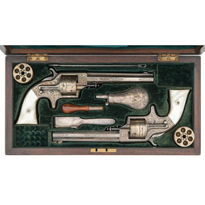 The Finest Known Ultra Deluxe French Cased Pair of Exhibition Engraved 3rd Model Plant Army Merwin & Bray Revolvers with Exchange Percussion Cylinders