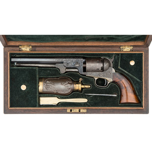 Fine and Rare Factory Engraved French Fitted Rosewood Cased Colt Third Model 1851 Percussion Navy Revolver