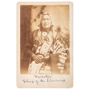 Shoshone Chief Washakie, Cabinet Card by M.D. Houghton