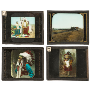 Collection of Glass Slides Featuring Western and American Indian Subjects, Incl. Geronimo, Chief Joseph, Rain in the Face, Custer, and More