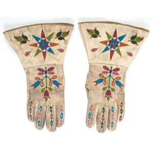 Santee Sioux Beaded Hide Gauntlets
