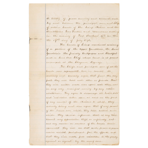 Original Manuscript Treaty of Peace between the Sioux and Arikara, Hidatsa, & Mandan, 1870