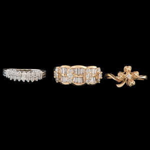 Gold and Diamond Rings, Lot of Three