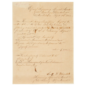 P.G.T. Beauregard Signed Card and Document Ordering Seizure of his New Orleans Property