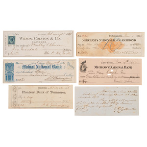 Group of Six Checks Signed by Confederate Generals