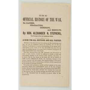 Group of Civil War Items Pertaining to Jefferson Davis, Alexander Stephens, Plus