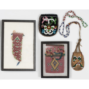 Collection of Western Great Lakes Pouches, PLUS Sioux Beaded Knife Sheath
