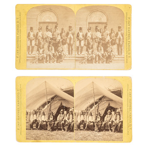 F. Jay Haynes, Two Stereoviews Showing Sioux and Red Lake Chippewa Chiefs