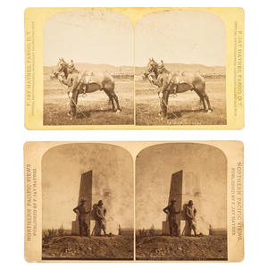 Little Bighorn Survivor Comanche and Custer's Scout Curley, Two Stereoviews by F. Jay Haynes
