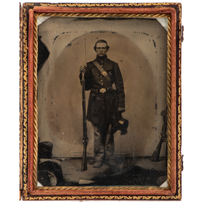 Civil War Quarter Plate Tintype of Private from the Wiggin Family of Bangor, Maine