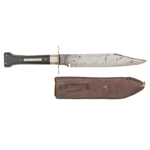 R.W. Butcher Bowie Knife with Indian Maiden Profile Leather Sheath