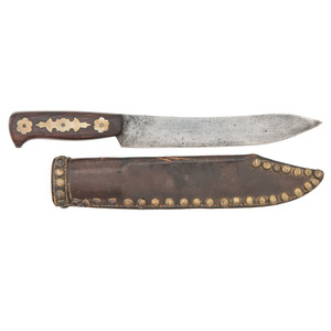 Rare Rifleman's Knife with Tacked Leather Sheath